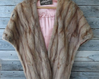 H.P. Wasson & Co. Indianapolis Brown  Fur Stole with Pink Lining