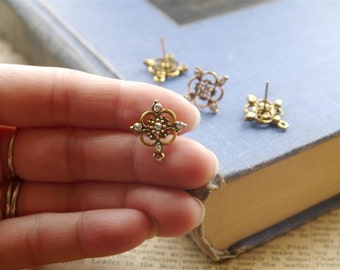 5 Pairs Ornate Antique Gold and Rhinestone Earring Posts with Loop (BFC1066)