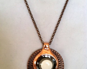 Cast Copper Pendant with White Pill and Black Elements