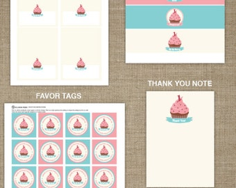 First Birthday Printable Party - Cupcake Printable - Cupcake Birthday Party - Gril Birthday Party - Pink Birthday Printable - 1st Birthday