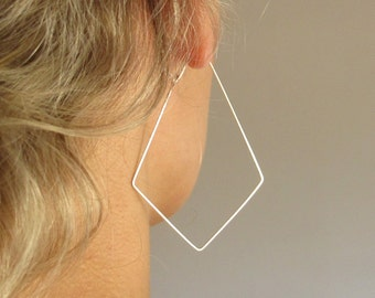 Diamond Shaped Hoop Earrings / Sterling Silver Geometric Hoops / Corner Modern Earrings / Geometric Jewelry / Silver Earrings / Modern Hoops