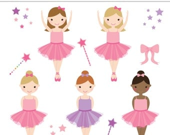 Little Ballerina 12 Piece Digital Clipart Set - Personal and Commercial Use - Birthday Party, Girl Birthday Invitation  INSTANT DOWNLOAD