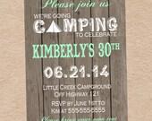 Camping Birthday Party Invitation - DIY Printables
