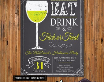 Halloween Party Invitation - Hallow-WINE - Eat, Drink and Be Scary Halloween invitation - chalk board - spider web - Item H0127