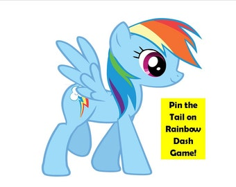 Pony Party Game - Pin the Tail on Rainbow Dash - My Little Pony Birthday Party Game - My Little Pony Birthday Decoration