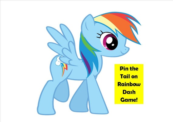 Pony party game pin the tail on rainbow dash my little for Rainbow dash cake template