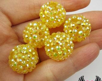 8 pc GOLDEN YELLOW Rhinestone Beads, 18mm Rhinestone Bubblegum Beads, Chunky Resin Beads, Gumball Beads, Disco Ball Beads