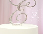 A-Z Initial Silver METAL Wedding D Cake Toppers, Fine Set-In Rhinestones in any letter A B C D E F G H I J K L M N O P Q R S T U V W X Y Z
