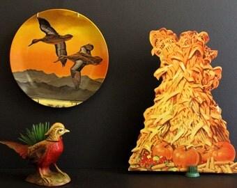 Vintage Autumn Harvest Cornstalk and Pumpkin Die Cut Cardboard Table Centerpiece