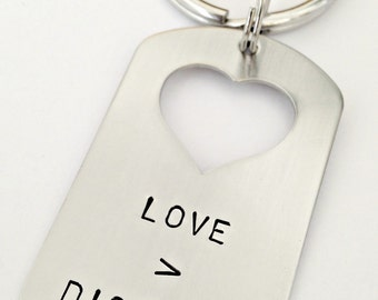 Personalized Dog Tag Key Chain with Heart Cutout - Custom Hand Stamped Key Chain - Love is Greater Than Distance - Long Distance Going Away