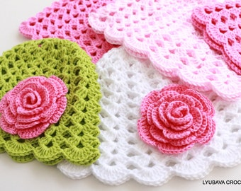 Crochet PATTERN Baby Hat With Rose Flower, Baby Girl Gift DIY Crafts, Tutorial Instant Download Digital Pattern Pdf No.125 Lyubava Crochet