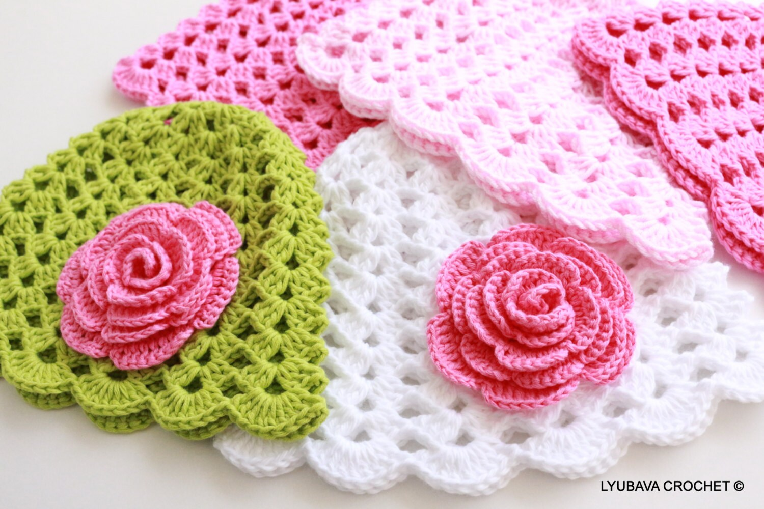 Crochet Patterns Baby Hats With Flowers : Crochet Baby Hat With Rose Flower PATTERN-Baby Girl Gift-DIY