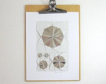 Origami Sketch No26 Silver Paper Collage - Geometric Art - Modern Home Decor - Paper Anniversary - Metallic Grey Art Modern Art Origami Art