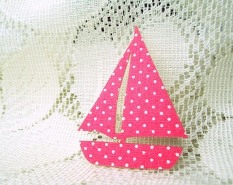 Sailboat mini pink Fabric applique, Iron on Applique pink ship, yacht,  kid, boy, toy, baby shower, bag supply, shirt decoration,party, card