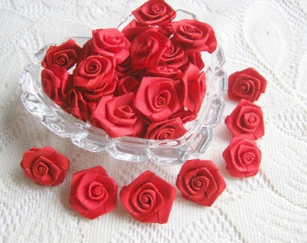 Love Red Rose Ribbon , red bow, red rose, 50 pcs. rose applique, fabric rose, ribbon, fabric bow, wedding, party, gift for her, party