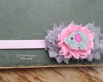 BABY ELEPHANT Headband, Elephant Birthday, Elephant Headband, Grey and Pink Headband, Headbands for Babies, Infant Headbands, Headbands