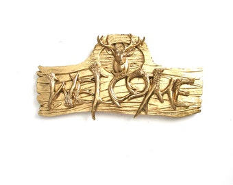 Deer WELCOME Sign in gold Faux animal faux antlers home decor wall decor