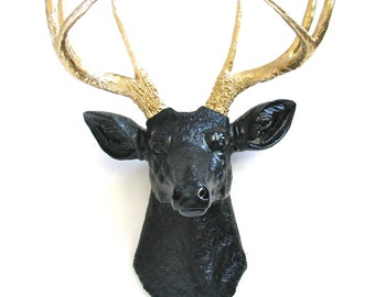 BLACK with Gold Antlers Faux Taxidermy Deer Head wall mount stag wall hanging home decor in black with gold antlers: Deerman the Deer Head