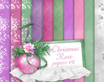 Christmas Rose Paper set 2 ONLY - Digital Scrapbooking