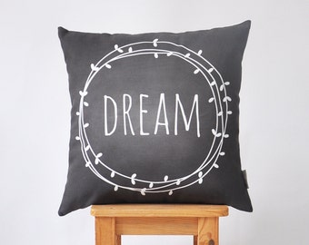 """Modern Kids Pillow, Decorative Pillow, Nursery Pillow, Throw Pillow, Chalkboard Pillow, Dream Pillow 16"""" x 16"""""""