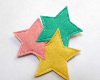 pastel three stars brooch