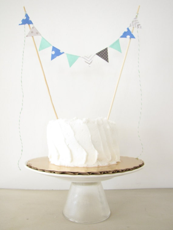 First Birthday Cake Topper - Fabric Cake Bunting - Wedding, Party, Shower Decor, baby elephant grey blue white aqua chevron polka dots boy