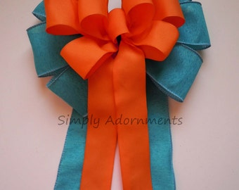 Teal Blue Orange Wedding Pew Bow Blue Orange Wreath Bow Church Pew Decorations Birthday Party Shower Gifts Bow