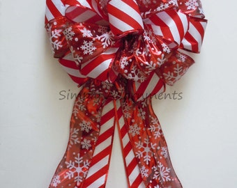 Red White Snowflake Christmas Tree Bow Candy Snowflakes Christmas Tree Topper Bow Cany Cane Snowflakes Wreath Bow Christmas Present Gift Bow