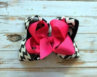 Chevron hair bow headband Girls hair bows Boutique hair bows Custom hair bows, Chevron Stacked hair bows for girls baby toddlers Texas Sized