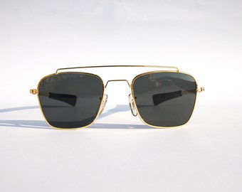 Authentic Vintage 90s Aviator  Sunglasses/ Double Bridge Squared Shades w Gold Tone Frame - - NOS Dead Stock Steampunk /Grunge/Rave
