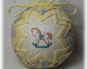 Quilted Ornament - Baby's First Christmas Ornament - Baby/Rocking Horse - Boy / Girl