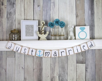 Just Married Banner - Nautical Wedding Decoration - Custom