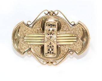 Antique 1870's 15K Rose Gold Enamel Pin/Pendant