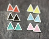 triangle stud earrings, handmade porcelain, geometric earrings