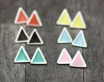 triangle stud earrings, handmade porcelain, geometric earrings