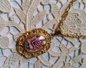 Vintage Pink Rose Cameo Gold Tone Filigree Necklace