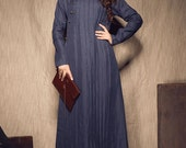 Navy Tunic Dress, long linen dress, linen kaftan dress, longsleeve dress, winter linen dress ,shirt dress, ovsersize dress- custom made