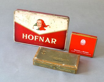 Vintage German tin tins cigarette tin box boxes collection red black gold