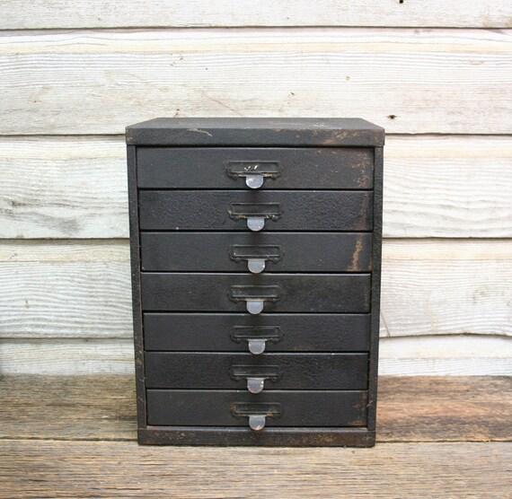 vintage industrial distressed black metal cabinet seven drawer card