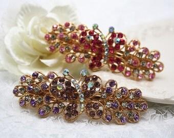 Butterfly crystal hairpiece purple Bridal headpiece gold filigree rhinestone floral hairclip wedding barrette jewellery accessory bridesmaid