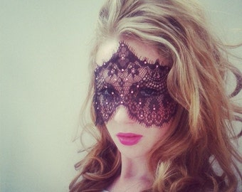 Masquerade Lace Face Mask with Pink Crystals - 50 Shades of Grey Mask - Pink Lace Mask - Masquerade Ball Crystal Mask - 50 Shades Blindfold
