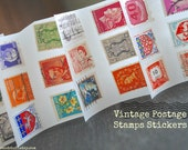100 Vintage Postage Stamp stickers/ seals- Small -Mixed colors- Travel wedding - Variety
