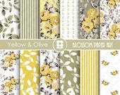 Yellow Digital Paper Wedding Paper Yellow Floral Paper Pack, Scrapbooking, Roses, Yellow Olive - INSTANT DOWNLOAD  - 1788