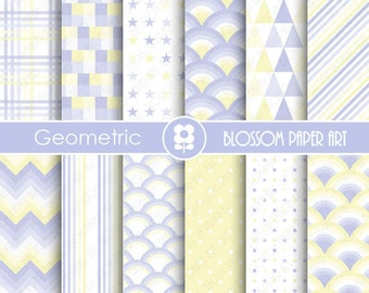 Light Blue Digital Paper Baby Boy Digital Papers, Geometric Scrapbooking Paper Pack, Light Blue and Yellow Papers - INSTANT DOWNLOAD - 1839