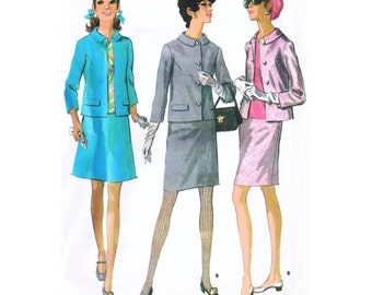 """1968 Mod Wardrobe, Suit: 3/4 Sleeve Jacket, Shaped Collar, Pencil or 8-Gored Skirt, Top, McCall's 9566, Bust 33"""", 35"""" or 37"""" Uncut"""