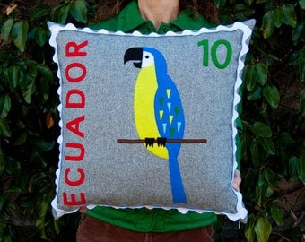 Ecuadorian macaw stamp cushion cover