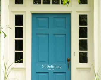 No Soliciting Thank You Door Sign - Wall Decal Custom Vinyl Art Stickers