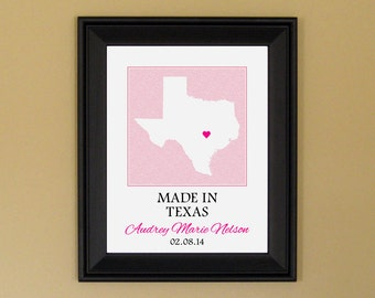 Baby Girl Gift - Unique Baby Gift - Personalized Baby Art for Nursery - Baby Shower Present - Custom Texas State Map Print - 11 x 14