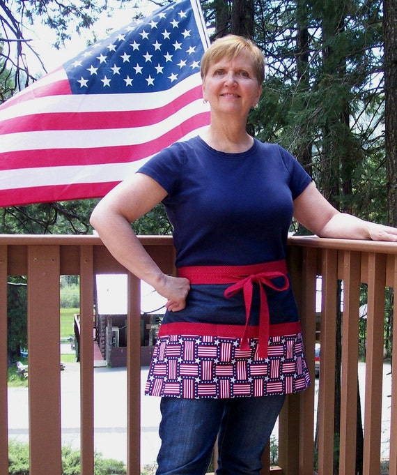 Red White and Blue Flag Half Apron-One by SusiesTieOneOnAprons