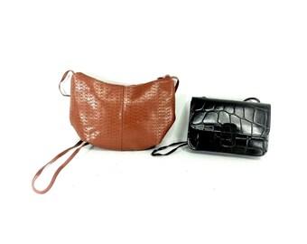 90s Leather Sling Bag Set - Small Leather Satchel - Black Brown Boho Bag - Lot - Collection